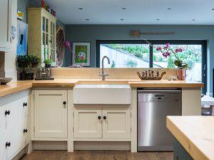 Colourful Funky Kitchen Belfast Sink View with Freestanding Mele Dishwasher