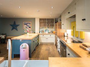Colourful Funky Kitchen Dark Denim Penninsular Dresser View