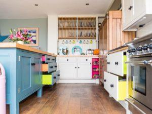 Colourful Funky Kitchen Plate Rack View with Doors and Drawers open