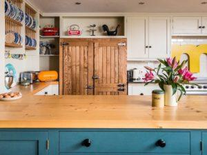 Colourful Funky Kitchen over Denim Blue Penninsular