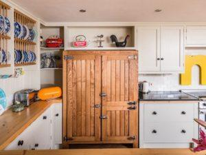Colourful Funky Kitchen with Vintage style Freestanding Ash Fridge Freezer