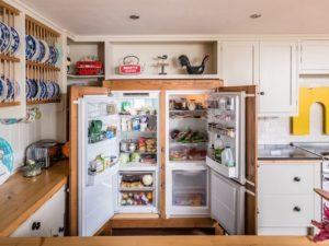 Colourful Funky Kitchen with Vintage style Freestanding Fridge Freezer Doors open