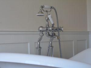 Bathroom Panelling behind Freestanding Bath Tap