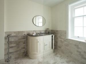 Hand Painted Curved Vanity Unit from Glass Corner Shower