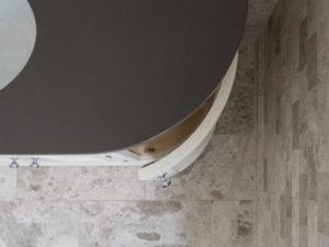 Hand Painted Curved Vanity Unit with Birdseye view of Curved Door open