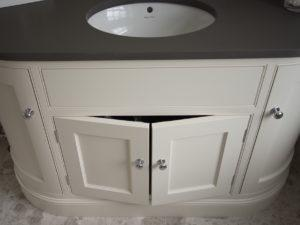 Hand Painted Curved Vanity Unit with Doors open